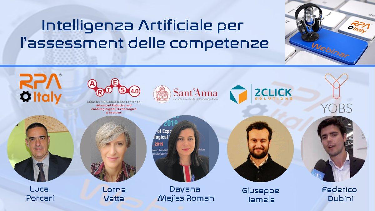 """Webinar """"AI per l'Assessment delle Competenze"""" organizzato da RPA Italy"""